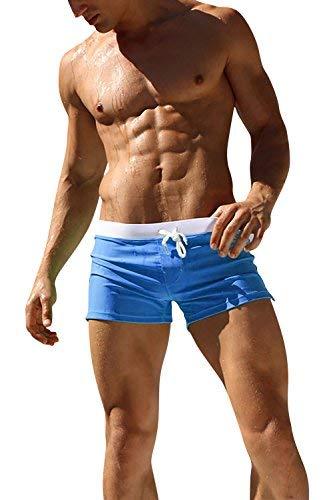 Dolamen Bañador de Natación Boxer para Hombre, 2018 Hombre Bañador Traje de Baño Pantalones Cortos Playa Piscina, Con cordón ajustable dentro & Cremallera Bolsillos (Small, Cielo azul)