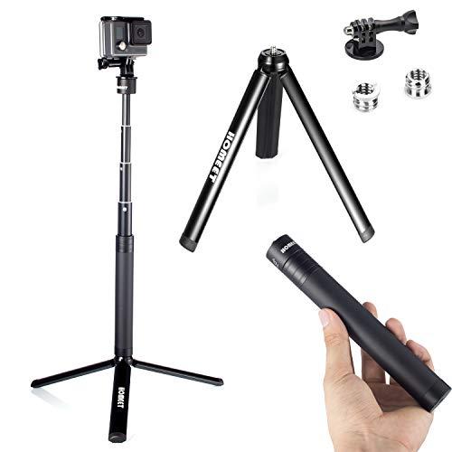 Bastone Selfie con Treppiede per GoPro, Homeet 2-in-1 Mini Treppiede Metallo da Tavolo Monopiede Asta Telescopico per Action Cam/Fotocamera/DSLR Fotocamera/Gimbal Stabilizzatore/LED Flash, 91CM