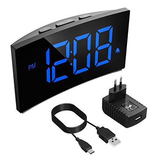 """PICTEK Digitaler Wecker, Digitaluhr, Reisewecker,5\"""" LED-Display, Randlos Kurve, Dimmer, Snooze, 12/24 Stundenanzeige, 3 Alarmtöne, Naturgeräusche, USB-Stromanschluss -Blau (mit Netzteil)"""