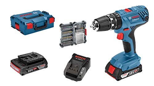 Bosch Professional perceuse-visseuse à percussion sans-fil GSB 18 V-21 (2 batteries 2,0 Ah, 18 V, avec set d'accessoires 40 pièces, emballage L-BOXX)