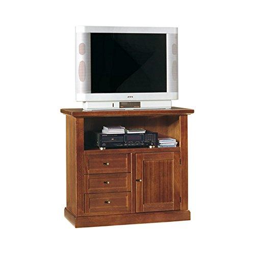 Mobile porta tv, stile classico, in legno massello e mdf con rifinitura in noce lucido - Mis. 84 x...