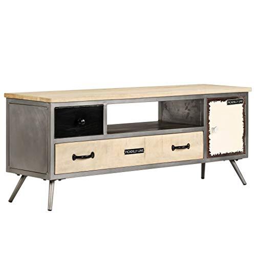 Festnight- Mobile Porta TV Vintage, Mobile Porta TV in Mango Massello e Acciaio 120x30x45cm