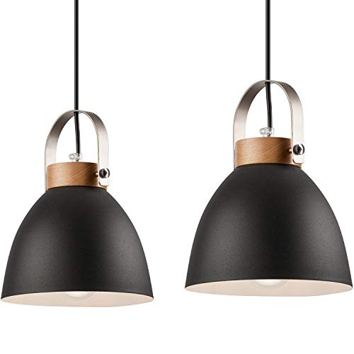 Pendel-Leuchte Decken-Leuchte aus Metall E27 Hänge-Leuchte Vintage Industrieleuchte Wohnzimmerlampe Modern Wohnzimmer mit Kabel Vintagelampe für Wohnzimmer/Küche/Büro/Praxis (Graphite, 2-flammig)