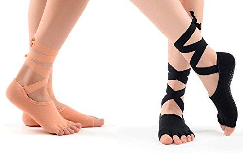 Lyna 2 pacchi Professionale Antiscivolo Yoga Balletto Calzini con Nastro di Seta per Le Donne e Le...