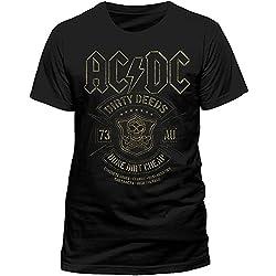 CID AC/DC BLACK DONE CHEAP, Camiseta de Manga Corta Para Hombre, Negro (Black PEACDC3891), Small