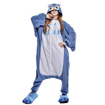 LSERVER Adulte Unisexe Animal Costume Cosplay Combinaison Pyjama Kigurumi Tenue en Flanelle Halloween Soiree de Deguisement