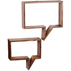 RELAXFAIR Wandregal Bücherregal Wand Board 2er Set / Massiv-Holz Braun Naturprodukt / Schlafzimmer Flur Küche Wohnzimmer Kinderzimmer / FSC-zertifiziert (Sheesham)
