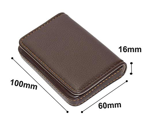 Storite Pocket Sized Stitched Leather Credit Debit Visiting Card Holder (Coffee Brown) 2