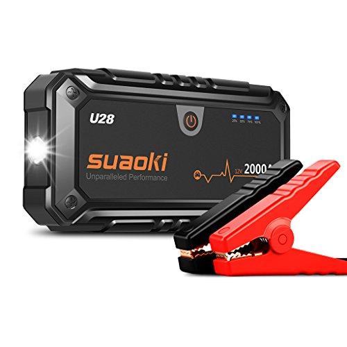 Suaoki U28 2000A Picco Avviatore di Emergenza Auto, con USB, Torcia a LED