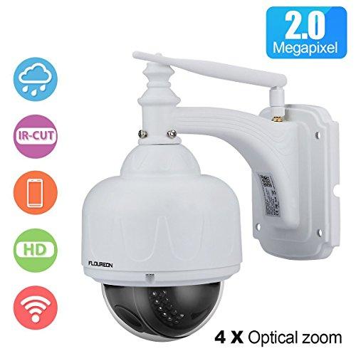 FLOUREON WiFi Telecamera di Sorveglianza PTZ IP Camera - HD 1080P 2.0MP ONVIF 4X Zoom P2P Impermeabile Dom Videocamera Visione Notturna Allarme Email Supporta Micro SD