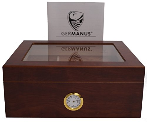 GERMANUS Sigari Humidor Classicus Desk con igrometro e umidificatore e GERMANUS Manuale Marrone