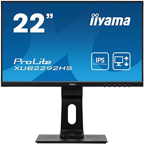 "iiyama ProLite XUB2292HS-B1 54,6cm (21,5\"") IPS LED-Monitor Full-HD (VGA, HDM, DisplayPort) Ultra-Slim-Line, Höhenverstellung, Pivot, schwarz"