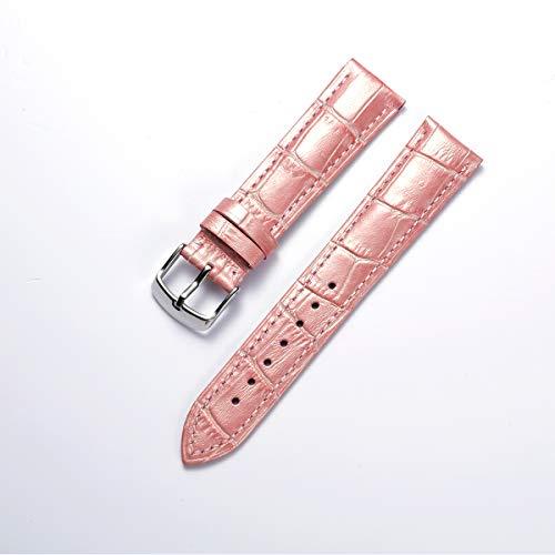 Binlun vera pelle di vitello del cinturino con fibbia in acciaio (largo -12mm,14mm,16mm,17mm,18mm,19mm,20mm,21mm,22mm,23mm,24mm), multicolore
