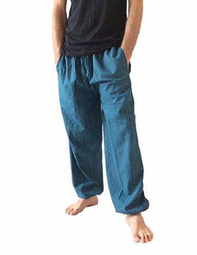 Love Quality Amor Calidad Baggy–Pantalones de Escalada para Hombre Talla única algodón harén Pantalones Hippie Boho Pantalones - Azul -