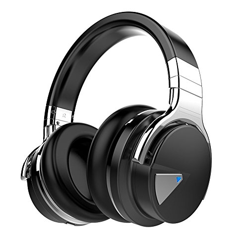 COWIN E7 Active Cancelación de Ruido Auriculares Bluetooth con Micrófono Hi-Fi Deep Bass Auriculares Inalámbricos Sobre El Oído, Cómodo Protein Earpads, 30 Horas Playtime Para Viaje (Negro)