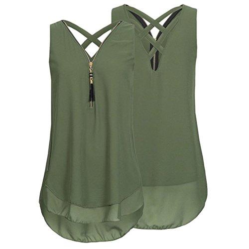OverDose Damen Sommer Ärmellos T-Shirt Hemd Frauen Lose Tank Tops Kreuz zurück Saum Gelegt Reißverschluss V-Neck Tops(Grün,EU-46/CN-XXL) - 3