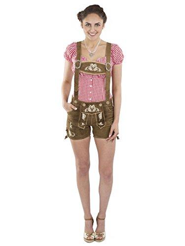 Damen Kolibri Trachtenlederhose kurz Trachten Lederhosen braun sexy Hotpants echtes Leder Hose Trachtenhose (38, Dunkelbraun)