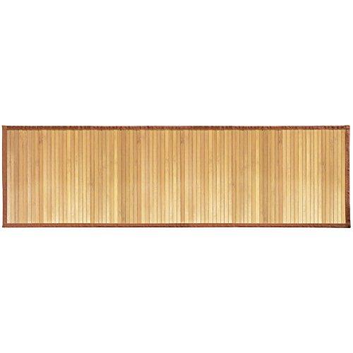 InterDesign Formbu Bamboo Tappetino Bagno Antiscivolo in Bambù, Beige, 53 x 152 cm