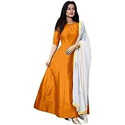 Elexsis Fashion Women's Tapeta Silk Anarkali Gown (204_Orange_Free Size)