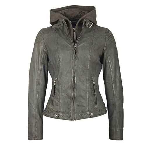 Gipsy M0008905 Cacey Damen Lederjacke mit Sweatjacke Bikerelemente aus Leder, Groesse 34, anthrazit
