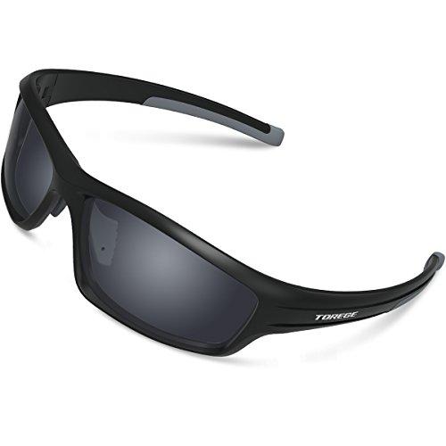 Gafas de sol deportivas Torege TR90 polarizadas para hombres y mujeres, para ciclismo, correr, pescar, jugar al golf, montura irrompible, TR034, Black/Grey&Grey lens