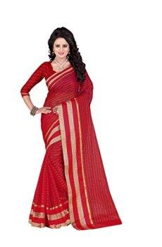 0371ab960ba80 ... BlueGene Women`s cotton saree with blouse piececolor(RedMagicZariChex)  ...