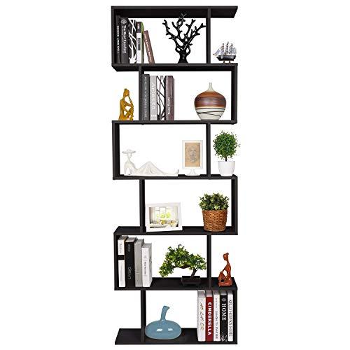 Homfa Bücherregal Regal mit 6 Ebenen, Raumteiler Standregal Büroregal 190.5 x 70 x23.5 cm, schwarz