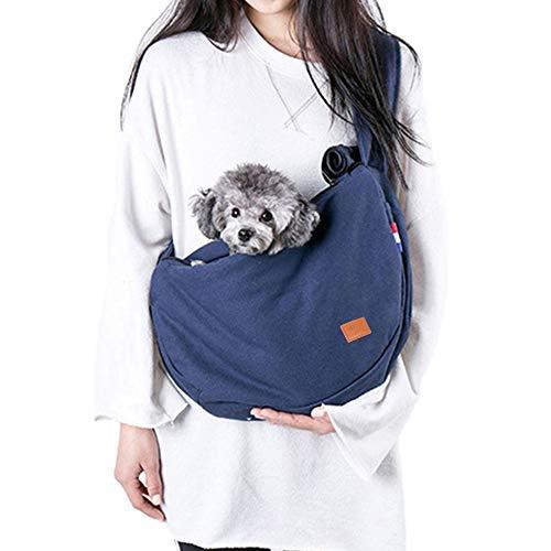 Petcomer Freihändiger Haustier-Riemen-Fördermaschine Katzen Hundebaumwoll Oxford-Einzelne Schulter-Beutel-Tragetasche mit justierbarem Bügel und ExtraBeutel (Deep Blue)