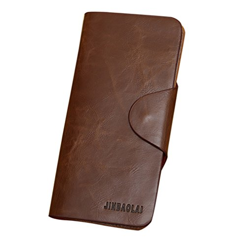 Rrimin Long Genuine Leather Wallet Pockets Card Clutch Bifold Purse for Men