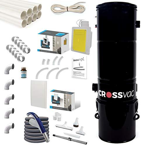 crossvac Zentralstaubsauger Set Retraflex Medium Staubsaugeranlage 2750, 9.1m Retraflex Schlaucheinzugsystem, Einbau-Set für Retraflex Einzugschlauch, 15m Vakuumrohr und Installationsmaterial