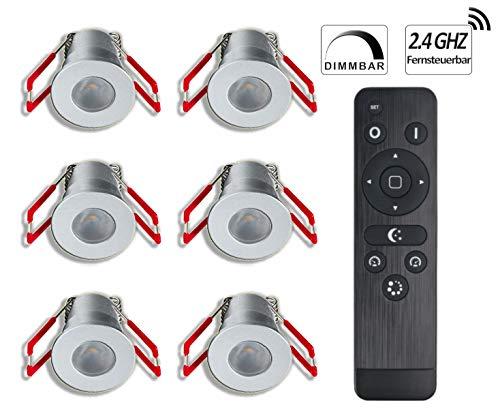 LEDUX 3W Mini Einbaustrahler IP65 Wassergeschützt Warmweiß Dimmbar mit Funk-Netzteil, Minispots für Innen- und Außenbeleuchtung,Terrassendach, Carport (Silber, 6x Minispot)