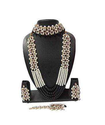 Apsara Art Jewellery Pearl,Stone Traditional Kundan Set Pearl Multi Layer Gold Plated Necklace with Maang Tikka and Earrings Jewellery Set for Women and Girls 3