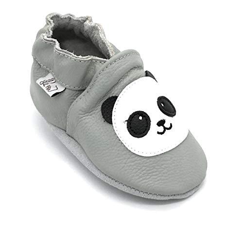 LEPEPPE - Pantofole Scarpine Bimbi e Adulti in Morbida Pelle - Suola in Pelle Antiscivolo - per Tutta LA Famiglia Fino al 44 - Panda (6XL (22,5 cm di Suola))