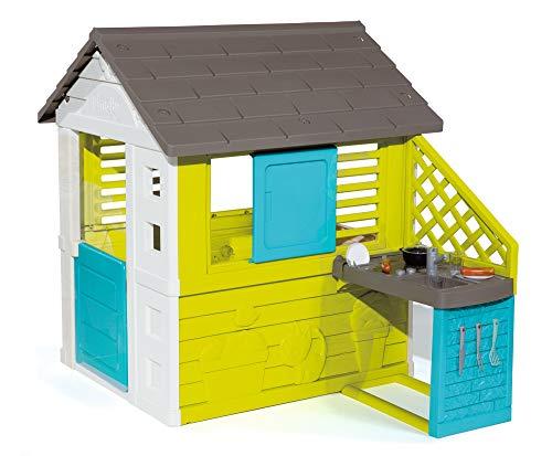 Smoby 810711 Pretty Spielhaus mit Sommerküche, Kinderspielhaus mit Kinderküche für Kinder ab 2 Jahren, türkis