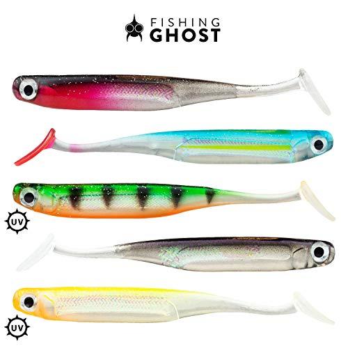 FISHINGGHOST LURIEone - 5 Pesci di Gomma 11,5 cm, 5 gr per la Pesca di lucioperca, persici, Lucci e trote
