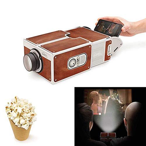 GOURCE Mini Portable Projector 3D DIY 3D Projector Cardboard Mini Smartphone Projector Light Novelty Adjustable Mobile Phone Projector Portable Cinema