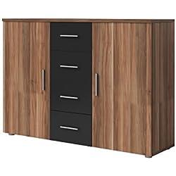 Sideboard Vero 132cm in verschiedenen Farben, Nussbaum / Schwarz