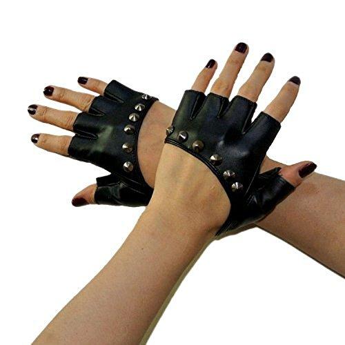 Guanti senza dita da donna, in pelle, con borchie, stile punk, per equitazione e ciclismo