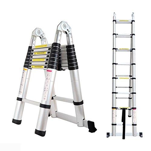 5M Portable A-Frame Ladder Multi-Purpose Aluminium Telescopic Folding Ladder- 16 Steps 150KG - Extendable 88cm to 500cm