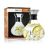 .Zoë&Mii Premium 1,5l Glaskaraffe - Wasserkaraffe mit Edelstahl Deckel - Karaffe aus Glas - Glaskanne Geschenk als Wasserkrug und Wein Dekanter Krug - Gratis Getränke Rezeptkarten