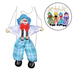 1pz Pull string Puppet marionette Doll misto in legno 25cm attività bambola clown Kids Toy novi