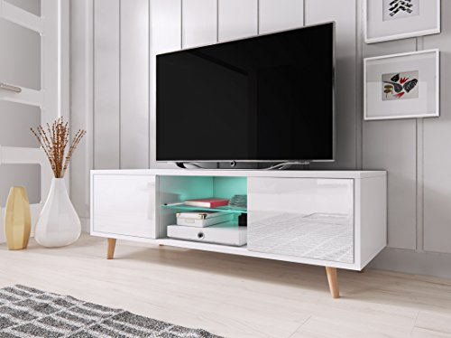Sweden Mobile TV stile scandinavo bianco opaco con bianco lucido. Illuminazione a la LED blu.