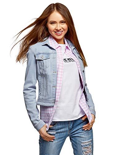 oodji Ultra Donna Giacca in Jeans Basic, Blu, IT 48 / EU 44 / XL