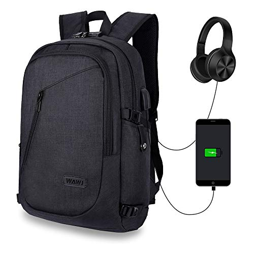 WAWJ Waterproof Anti-theft Backpack, Multi-use Daypacks Laptop Backpack with USB Charging Port (Black)