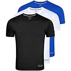 Awg - All Weather Gear Men's Polyester T-Shirt (Pack Of 3) (Awgdft-Bl-Wh-Rb-M_Multi-Coloured_Medium)