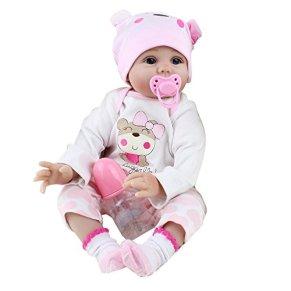 DOGZI Reborn Bebé de Cuerpo Entero de Silicona de Vinilo Hecho a Mano Cuerpo de la niña de la muñeca Rebote más Popular Preferido Regalo de cumpleaños de Juguete Navidad Regalo (55CM, C)