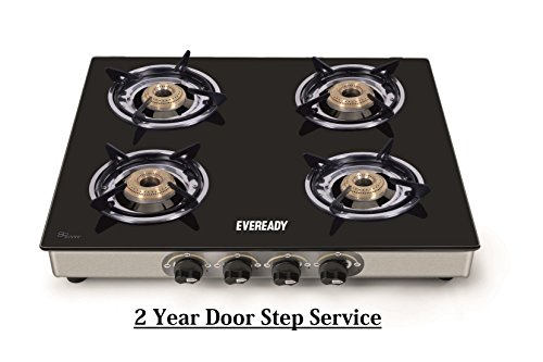 Eveready TGC4B Glass Top 4 Burner Gas Stove - Black