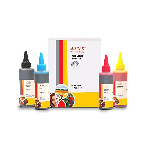 Vms Deluxe Foto Color Refill Ink All Inkjet Printers Ink 100 ml Multicolor Set Of 4 (Cyan, Magenta, Yellow, Black) (491-494)
