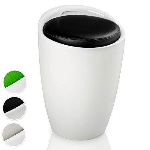TecTake Sitzhocker Badhocker rund | ABS Kunststoff | mit Stauraum und Sitzkissen - Diverse Farben - (Weiß Schwarz | Nr. 402079)