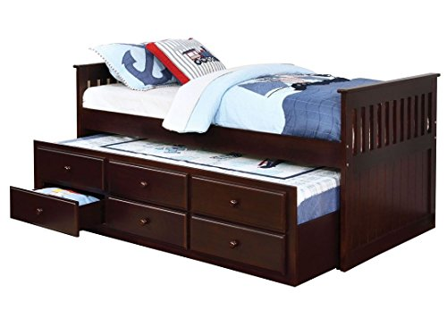 Aprodz Sheesham Wood Oyster Daybed with Trundle Bed and with Drawer Storage for Home | Bed for Bedroom, Cappuccino Finish
